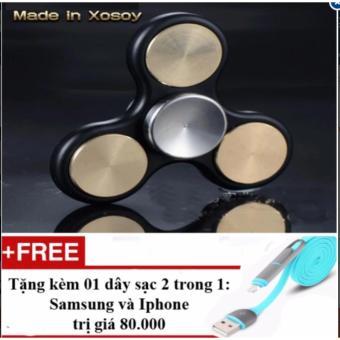 Con quay 3 cánh (đồng vàng) Fidget Spinner hàng hiệu Made in Xosoy + Tặng 01 dây sạc điện thoại 2 trong 1 cho Iphone và Samsung
