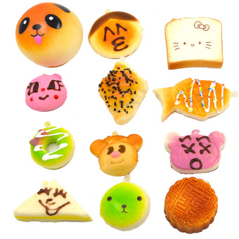 12 Pcs Kawaii Mini Squishy Soft Simulated Food Panda Bread Cake Buns Pendants Key Rings Keychains Phone Chain Straps Ornaments Accessories Random Style - intl