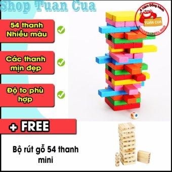 Bộ đồ chơi rút gỗ 54 thanh nhiều màu tặng rút gỗ 54 thanh mini