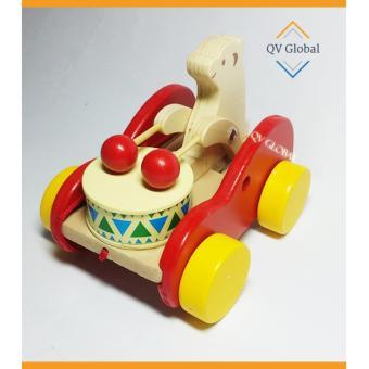 Đồ chơi gỗ cho trẻ - Xe kéo bằng gỗ - Gấu gõ trống (đỏ)