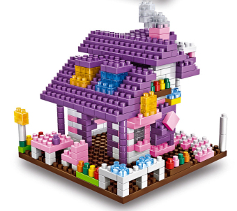 Bộ đồ chơi lắp ghép hình 3D mô hình ngôi nhà (Tím)