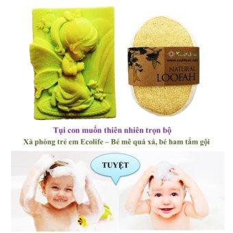 COMBO Xà phòng tắm dành cho trẻ em Ecolife dịu nhẹ cho da hình thiên thần cầu nguyện 80g và bông tắm xơ mướp hữu cơ