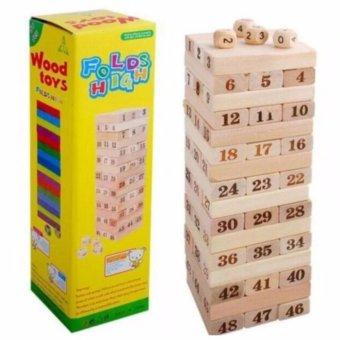 Bộ đồ chơi rút gỗ Wood toys 48 thanh kèm 4 con súc sắc cho bé (Loại lớn)