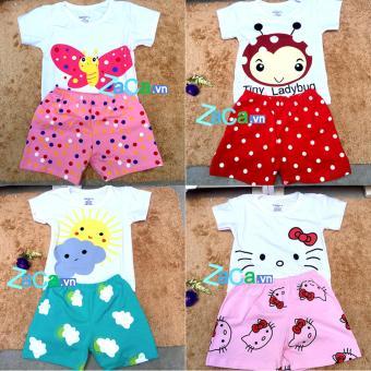 4 Bộ quần áo cho trẻ em, sơ sinh 100 % cotton Size 2 (7-9kg) mẫu bé gái