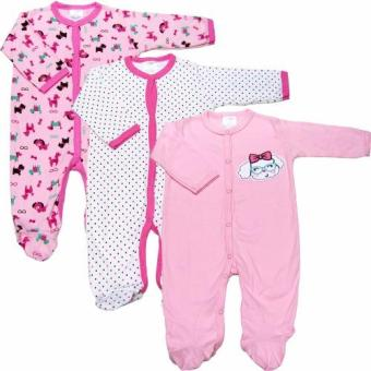 Bộ 3 áo liền quần liền vớ bé gái từ 3 tháng đến 12 tháng Baby Gear (Nhiều màu sắc)