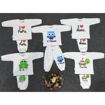 Combo 5 Bộ áo tay dài quần dài (trắng) (6-36 tháng)