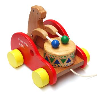 Đồ chơi xe kéo bằng gỗ - gấu gõ trống (Đỏ)