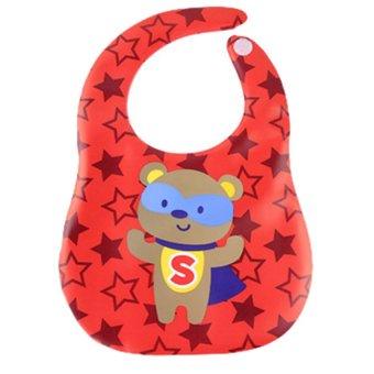 Yếm ăn chống thấm Siêu nhân gấu có máng hứng Shopconcuame (Đỏ)