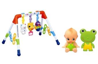 Bộ Kệ chữ A tập luyện đa năng Toyroyal 114368 và Bộ 2 đồ chơi búp bê bé cười và chút chít ếch xanh Toyroyal