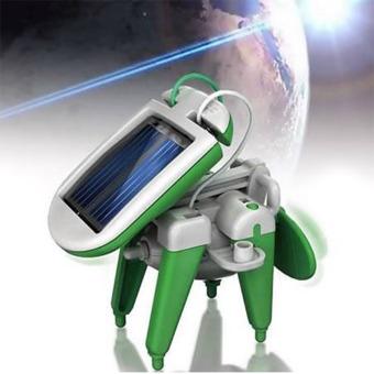 DIY 6-in-1 Educational Solar Kit Toy Boat Fan Car Robot Power Moving Dog Green