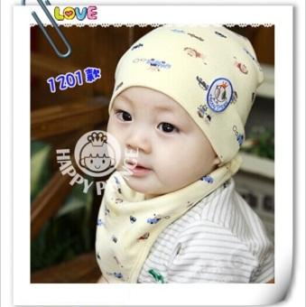 Bộ khăn tam giác yếm và mũ cho bé (Vàng)