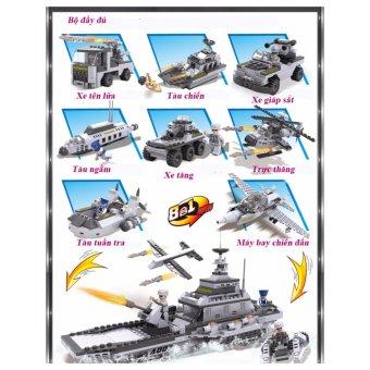 Bộ lắp ghép xếp hình 08 mô hình xe quân sự