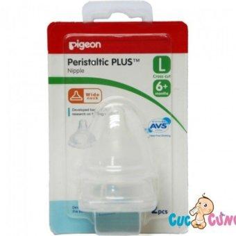 Ty bình sữa Pigeon Silicone Plus cổ rộng size L - 2 cái/vỹ