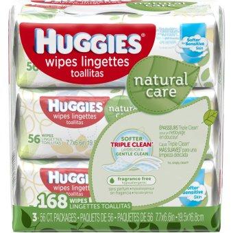 Bộ 3 gói khăn ướt Huggies refill Unscented, Hypoallergenic, Aloe and Vitamin E