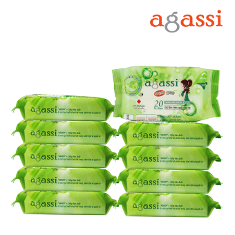 Bộ 10 gói khăn ướt Agassi không hương 20 tờ (Màu xanh lá)