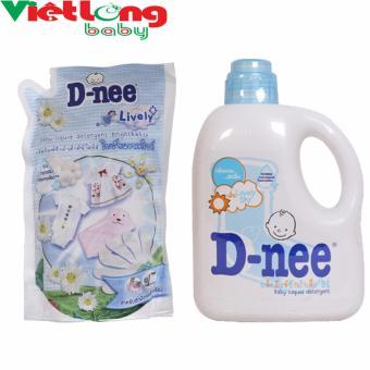 Bộ 1 chai nước giặt xả D-nee xanh 960mll + 1 túi dung dịch giặt xả D-nee trắng 600ml