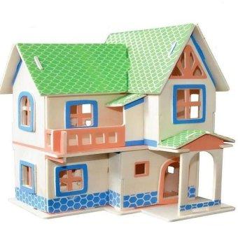 Bộ ghép hình 3D ngôi nhà gỗ sáng tạo Family Plaza(Xanh)