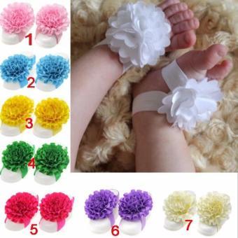 Nơ đeo chân hoa mẫu đơn handmade cho bé 01