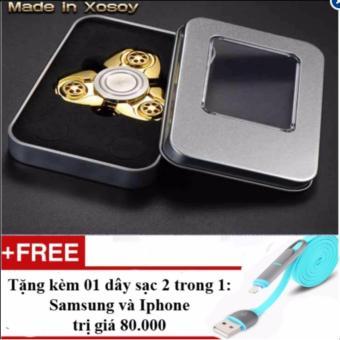 Con quay đồng vàng Fidget Spinner hàng hiệu Made in Xosoy + Tặng 01 dây sạc điện thoại 2 trong 1 cho Iphone và Samsung
