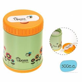 Hộp giữ ấm thức ăn không BPA 500 cc có thìa và dĩa (nĩa) gấp gọn Upas UP9563Y(Light green)