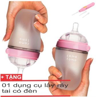Bộ 2 Bình Sữa Comotomo 250ml + tặng 01 dụng cụ lấy ráy tai có đèn