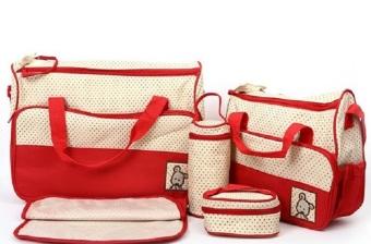 Túi đựng đồ cho mẹ và bé 5 chi tiết (Đỏ đô)