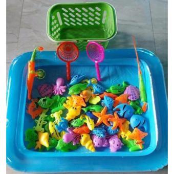 Bể phao câu cá đồ chơi cho bé kèm bơm tay 2 cần