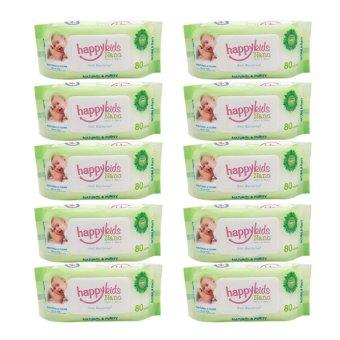 Bộ 10 gói khăn ướt mùi hương lô hội 80 tờ Happykids Nano (Xanh lá)