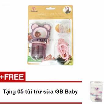 Túi nhai Kichilachi (Tím) tặng kèm 5 túi trữ sữa GB Baby