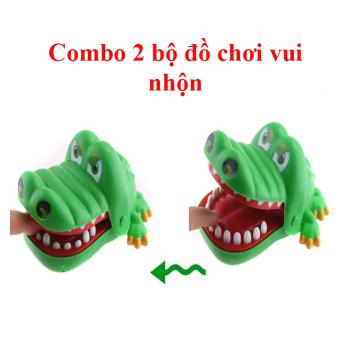 Bộ 02 bộ đồ chơi khám răng cá sấu xanh,