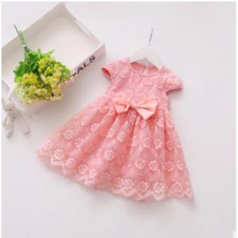 Đầm ren nơ xinh xắn cho bé gái