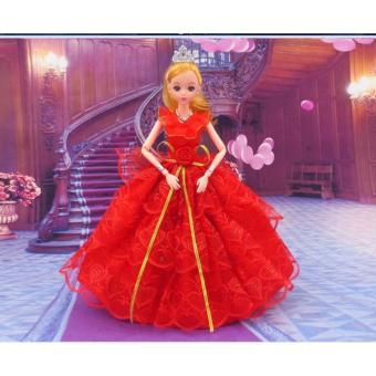 Búp Bê Tiểu Thư Váy Đỏ + Tặng Bộ Phụ Kiện Búp Bê 08 Món