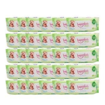 Bộ 30 gói khăn ướt không mùi 80 tờ Happykids Nano (Xanh)