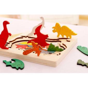 Bảng ghép gỗ 3 lớp hình khủng long