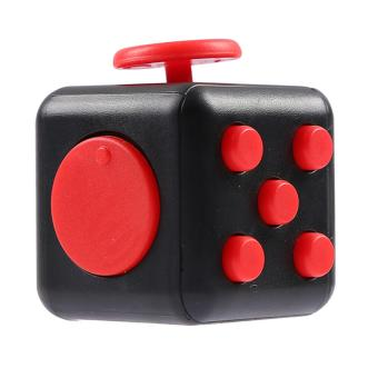 Mini Portable Fashion 1.3inches Fidget Cube Relieves Stress Anxiety 6-sides Desk Toy for Children Adults Anxiety Attention Black-red - intl