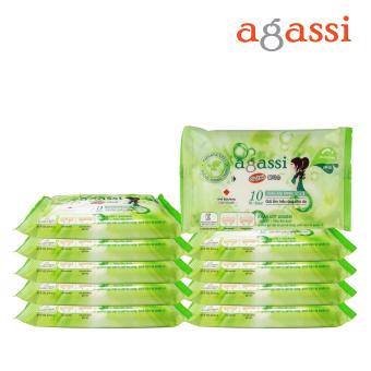 Bộ 10 gói khăn ướt Agassi không hương 10 tờ (Màu xanh lá)