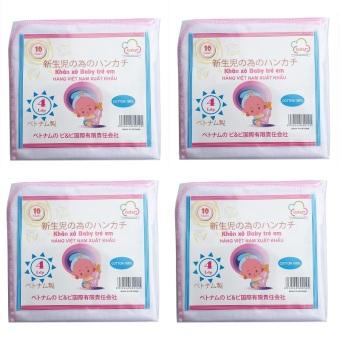 Bộ 04 Túi 10 khăn sữa 04 lớp 35x35(cm) 100% cotton
