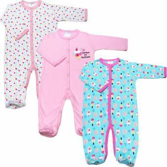 Bộ 3 áo liền quần kèm tất bé gái Baby Gear (Mẫu cây kem)