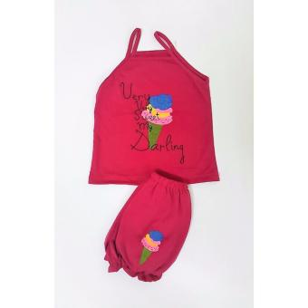 Bộ quần áo 2 dây cho bé cực xinh (màu hồng đậm)
