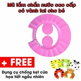 Mũ tắm chắn nước có vành tai cho bé (Hồng) + Tặng 1 dụng cụ chống kẹt cửa