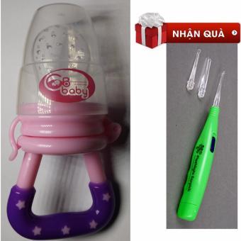 Túi nhai ăn dặm GB Baby Hàn Quốc tặng kèm 01 lấy ráy tai phát sáng (Hồng)