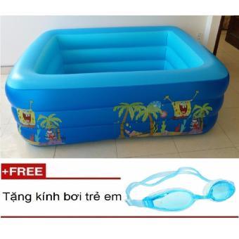 Bể bơi phao 3 tầng H2-136(Xanh dương)185x145x60cmTặng kèm kính bơi trẻ em