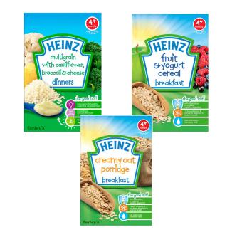 Bộ 1 hộp bột ăn dặm vị ngũ cốc + 1 hộp bột ăn dặm vị trái cây + 1 hộp bột ăn dặm vị cháo yến mạch Heinz