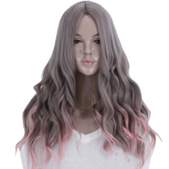 Mua 65cm Women's Long Wavy Curly Hair Extensions Wig for Masquerade Party Halloween Christmas Cosplay Costume Wigs,Gray Pink Ombre Hair giá tốt nhất