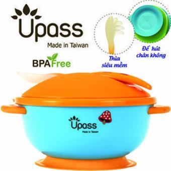 Bát ăn dặm không BPA có đế hút chân không chống đổ có nắp và thìa Upass UP5025YX(Xanh lá nhạt)