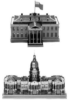 Bộ 2 bộ xếp hình kim loại 3D White House và US Congress