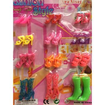 Vỉ đồ chơi giày, dép, guốc cao gót cho búp bê 12 đôi