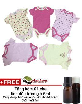 Combo 4 áo liền quần (body suite Baby Gear) cho bé gái từ 0-12 tháng (mầu sắc bất kì) Tặng kèm 1 chai tinh dầu tràm gió 5ml