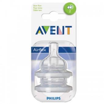 Bộ 2 chiếc núm ty thay thế Avent Silicone dành cho trẻ từ 1 tháng tuổi 2 lỗ
