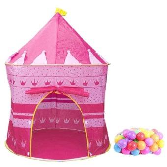 Bộ lều bóng hình lâu đài kèm 50 quả bóng nhựa phi 8 (Hồng)